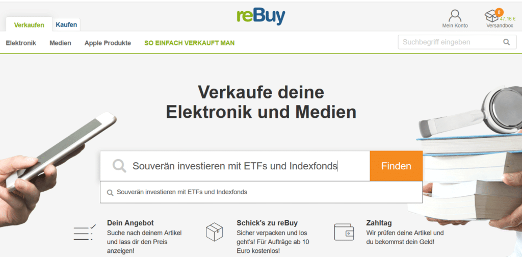 Verkaufsseite von reBuy für Medien und Elektronik